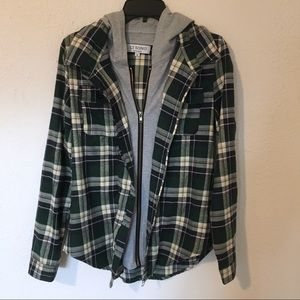🚛 MOVING SALE 🚛 Hooded plaid shirt